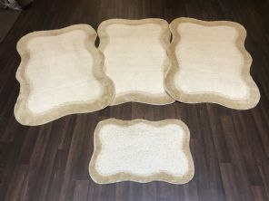 GYPSY TRAVELLERS MATS  4PCS NON SLIP NEW DESIGN SUPER THICK CREAM/BEIGE BARGAINS (2)